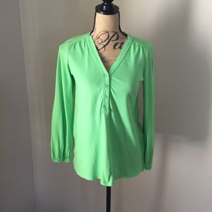 Lily Pulitzer green jersey blouse long sleeve XS